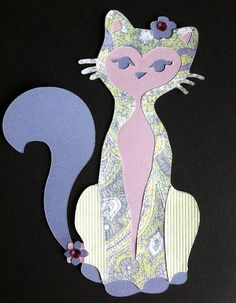 Paisley cat die cut paper by vettro on Etsy, $5.00