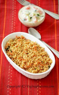 Carrot coconut rice ~ Gajarwale chawal | Veg Inspirations