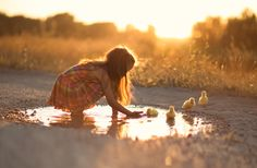 """Come to me.... - Little girl playing with some little ducks in a puddle on a dirt road in the countryside... <a href=""""https://www.facebook.com/pages/Broquart-Photography/374405426079137?ref=aymt_homepage_panel/"""" target=""""_balnk"""">   Facebook  </a>"""