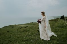 Kirsten in her beautiful Claire Pettibone wedding dress at Voderup Klint on Aeroe. Captured by Camilla, www.camillajorvad.com