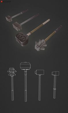 Low Poly Blunt Weapon Set 01 Hammer time!  and mace to the face :)