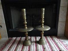 Brass Candle Holders Candlesticks Large Altar Big Base Pair Vintage Heavy Solid
