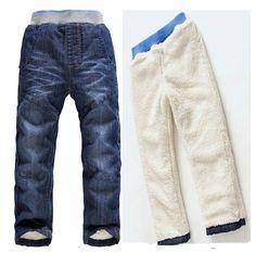 0fba86a018d58 2015 New Plus velvet Children winter Jeans boys girls baby jean warm  cashmere kids Fashion pants