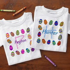 "OMG I love these cute personalized Easter T-Shirts for kids!!! You can personalize the ""Colorful Eggs"" design with any name and have it designed on a youth T-Shirt, baby onsie, baby bib or a toddler hooded sweatshirt! This is the perfect outfit for the kids to change into for the Easter Egg Hunt so they don't get their nice clothes all dirty!! #Easter #EasterEggHunt #EasterClothes"