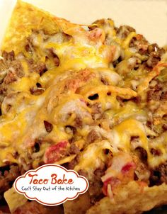Taco Bake | Can't Stay Out of the Kitchen | this easy 7-ingredient casserole is filled with beef cheese tortilla chips and diced tomatoes with green chilies.