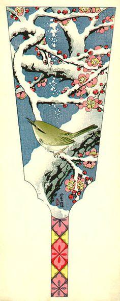 hanga gallery . . . torii gallery: Plum Tree and Nightingale in Snow by Shiro Kasamatsu