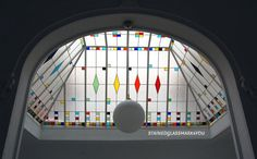 Colorful Abstract Stained Glass Roof by Stainedglassmark4you