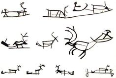 Reindeer with carriage symbol in Sámi art. [Drawings of Saami symbology used on ritual drums & possibly in prehistoric rock art in northern Eurasia. Deer Art, National Art, Drum Patterns, Viking Jewelry, Indigenous Art, Ancient Art, Tattoo Studio, Rock Art, Body Art Tattoos