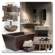 """Brown Bathroom ... 2016  Mood Board"" by greta-martin ❤ liked on Polyvore featuring interior, interiors, interior design, home, home decor, interior decorating, Le Labo, Juara, bathroom and interiordesign"