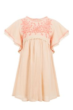 We love the gorgeously girly designs from french brand Louise Misha that all come in beautifully soft cotton fabrics. This Talulah dress in shell pink features fluoro pink embroidery and lace embroidered frill sleeves. Needs simply a pair of flat leather sandals to complete the look.