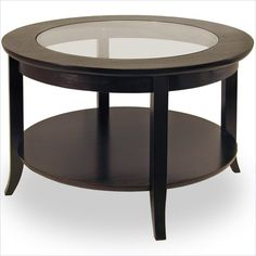 Winsome Genoa Round Wood Coffee Table with Glass Top in Dark Espresso - 92219