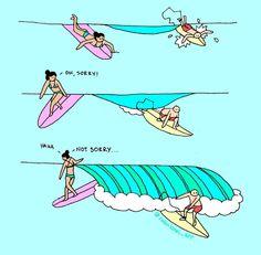 Robin Lanei Art Cartoons Surfing Women