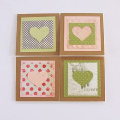 Mini Heart Card Set Handmade Cards Mini Cards by Summertimedesign