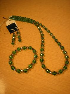 Green crystal and silver glass set by CreationsbyMaryEllen on Etsy, $15.75