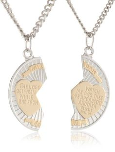 "Sterling Silver Two-Tone Round Mizpah Pendant Necklace with Stainless Steel Chains, 20\ and  24"" on http://jewelry.kerdeal.com/sterling-silver-two-tone-round-mizpah-pendant-necklace-with-stainless-steel-chains-20-and-24"""
