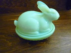 Green Jadeite Glass Rabbit Covered Dish on Nest or Basket In
