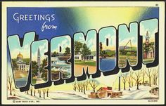 1940s Large Letter Greetings from Vermont State Vintage Postcard