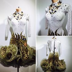White gold and black Latin dress with horsehair ruffle skirt leopard print