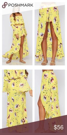 Yellow Floral Maxi Shorts Yellow Floral Maxi Shorts. Shorts with a skirt draped over for a sexy yet springy look.   100% Polyester Peach Love California Skirts