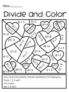 Valentines Day Divide And Color Activity