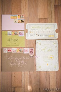 pink and green vintage inspired wedding invitations
