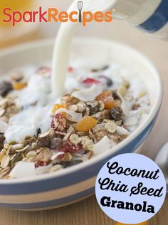 Coconut-Chia Seed Granola. I made this last week and it's already gone!! A big hit in our house for breakfast! | via @SparkPeople #chia #granola #breakfast #cereal #recipe #coconut #healthy