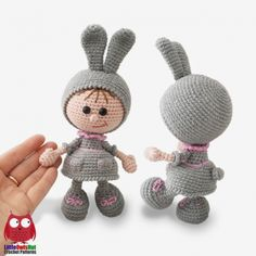 Doll in an Easter Bunny outfit amigurumi pattern by LittleOwlsHut