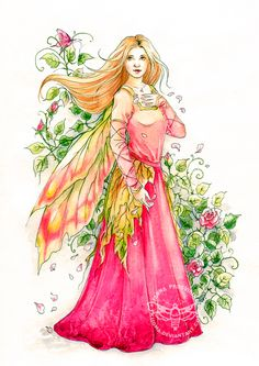 Rosaly by JannaFairyArt on DeviantArt * Fairy Myth Mythical Mystical Legend Elf Faerie Fae Wings Fantasy Elves Faries Sprite Nymph Pixie Faeries Hadas Enchantment Forest Whimsical Whimsy Mischievous