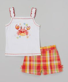 Loving this White Crab Tank & Plaid Shorts - Infant, Toddler & Girls on #zulily! #zulilyfinds