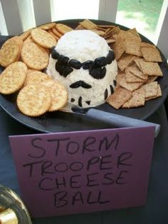 Star Wars Party Ideas and Free Downloads: Storm Trooper Cheese Ball, Yodamole & Trooper Scoopers, Wookie Cookie Recipe