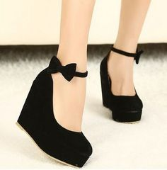 2014 New Sexy Lady Red Black Bow High Heels Womens Shoes Wedges Fashion Womens Pumps wedding shoes for women free shipping 043-in Pumps from Shoes on Aliexpress.com