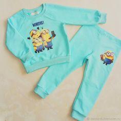 Купить Комплект Миньоны - бирюзовый, комплект, костюм, костюм детский, костюм для девочки, комплект для девочки