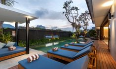 Amarin Seminyak is in Seminyak, Bali. This pool villa has 4 bedrooms and sleeps Rent it with Vilondo - villa rental made easy. Villa Design, House Design, Reclining Sun Lounger, 8 Pool, Beach Villa, Bedroom With Ensuite, Pool Houses, Private Pool, Swimming Pools
