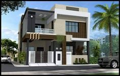 Two floors house. Bungalow House Design, House Front Design, Minimalist House Design, Modern House Design, Dream House Plans, Small House Plans, Beautiful Small Homes, Independent House, House Map