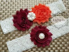 Wedding Garter.Garter Belt.Wedding garter Set.Bridal garter.Lace garter. Dark Orange wedding garter. Autumn garter.Wine Garter. Bridal Belts