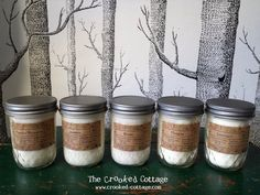 SET of 6 Mason Jar Soy Candles ~ Perfect for Weddings. By The Crooked Cottage on Etsy.
