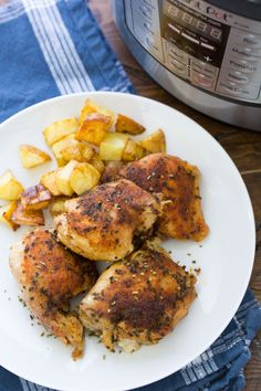 Easy Instant Pot Chicken Thighs with the best seasoning! How to cook perfectly moist and juicy chicken thighs in your Instant Pot pressure cooker. From fresh or frozen. Use boneless, skinless thighs or bone in. One of our favorite healthy chicken recipes! Chicken And Red Potatoes Recipe, Instant Pot Chicken Thighs Recipe, Red Potato Recipes, Oven Chicken Recipes, Best Instant Pot Recipe, Instant Pot Dinner Recipes, Chicken Thigh Recipes, Recipe Chicken, Bbq Chicken