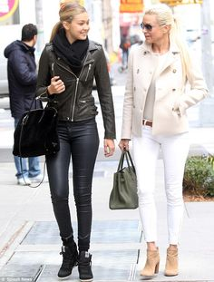 I love the way Yolanda hadid is wearing this look.  Booties + Anke Skinnies