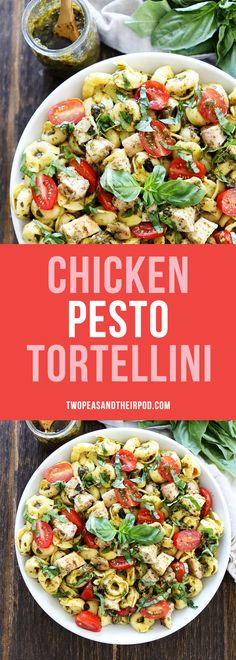 Chicken Pesto Tortellini is a family favorite meal. You can have this easy chicken pasta dish on your dinner table in under 30 minutes. #chicken #dinner
