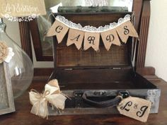 Personalized Wedding Card Box Vintage Suitcase Card by LoRustique, $54.50