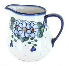 Primrose Pitcher Blue And White Dinnerware, Kitchen Canisters, Polish Pottery, Utensils, Stoneware, Ceramics, Ceramica, Kitchen Jars, Pottery