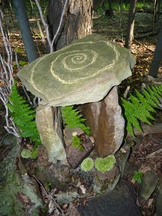 "Building Sacred Outdoor Spaces, Part 1: Stone Carin Building / Stone Balancing / Stone Stacking -- ""Whether in your own home garden, in a corner of a local park, or in the forest behind your workplace, you can build and maintain small sacred spaces  that can provide peace, restorative energy to you and the land, demonstrate reverence and respect."" ~ Willowcrow (Photo of: ""Thor's Gate"" Style Cairn, complete with spiral drawn in clay)"