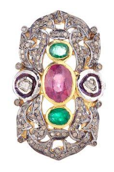 Sliced Diamond, Emerald, Ruby, & Champagne Diamond Vintage Inspired Ring