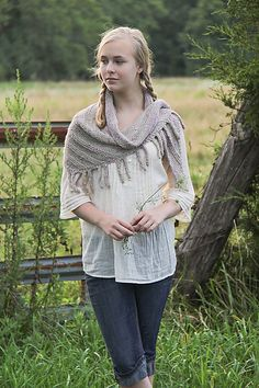 Lunatic Fringe by Jennifer Dassau - #free pattern available from Knitty, fringed shawl knit with The Fibre Company's Terra. #knitting #shawl
