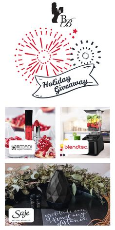 Holiday Giveaway from Blender Babes! Win a Blendtec Designer Saje Wellness and Emani Vegan Cosmetis! Disney Movie Rewards, Smoothie Bowl, Smoothies, Gift Guide, Giveaway, Projects To Try, Holiday, Christmas, Wellness
