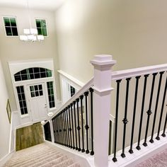 There comes a time when your staircase banisters need a makeover. There's always a DIY solution to your banister woes and perhaps you just need one of these ideas to freshen things up. Banisters, Staircase, Stair Railing Makeover, Indoor Railing, Staircase Makeover, Metal Stair Spindles, Stairs Design