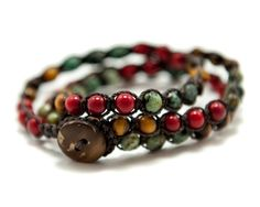 African Turquoise, Red Coral, and Tigers Eye Macrame Triple Wrap Bracelet, Double wrap Anklet, or Single strand Necklace on Etsy, $33.99