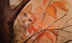 Cute kitty in a tree hiding Painting