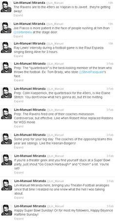 Lin-Manuel Miranda Explains the Super Bowl for Theater People :))))