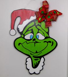 Grinch Door Hanger, Christmas Door Hanger, The Grinch, Mr. Grinch, Dr. Seuss Christmas, How The Grinch Stole Christmas by HolidaysAreSpecial on Etsy https://www.etsy.com/listing/253379987/grinch-door-hanger-christmas-door-hanger
